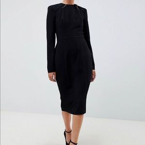 ASOS DESIGN shoulder pad midi dress with seams
